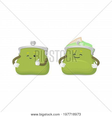 Vector money wallet, purse character flat set illustration isolated on a white background. Expressive happy, emotinal satisfied wallet smiling . Money, success wealth and richness concept