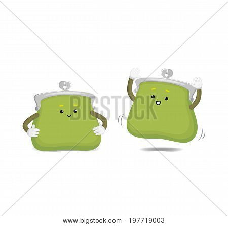 Vector money wallet, purse green character set flat illustration isolated on a white background. Expressive happy, emotinal satisfied wallet smiling jumps. Money, success wealth and richness concept