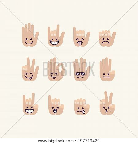 Vector set of gesture human palm with emotion signs. Human hands with drawn faces