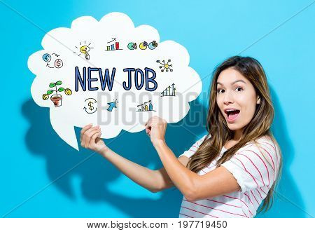 New Job text with young woman holding a speech bubble on a blue background