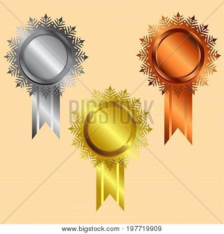 reward icon vector gold silver bronze silver vecter illustration