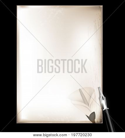 dark background, retro stylized sheet of paper and old-fashioned writing pen