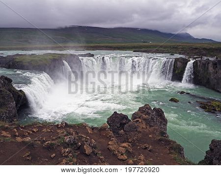 Famous Iceland Waterfall Godafoss With Grey Clouds