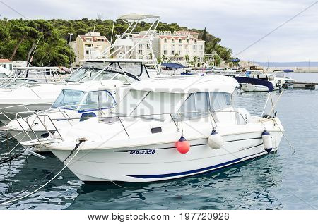 Parking of boats and yachts - JUNE 1: Parking of boats and yachts in Makarska, June 1, 2017. Croatia.