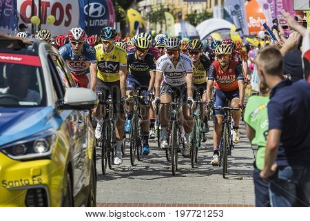 Jaworzno, Poland - July 31, 2017: Cyclists At The Start Of The Third Stage Of The 74. Tour De Pologn