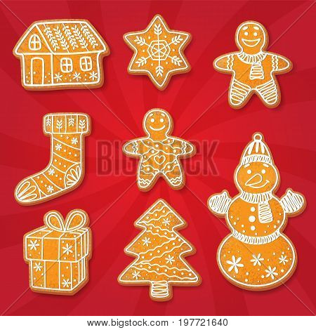 Gingerbread cookies set vector isolated illustration on a red background. New year baked cartoon sweet cake gingerbread man, snowman spruce tree, house snowflake stocking gift packaging