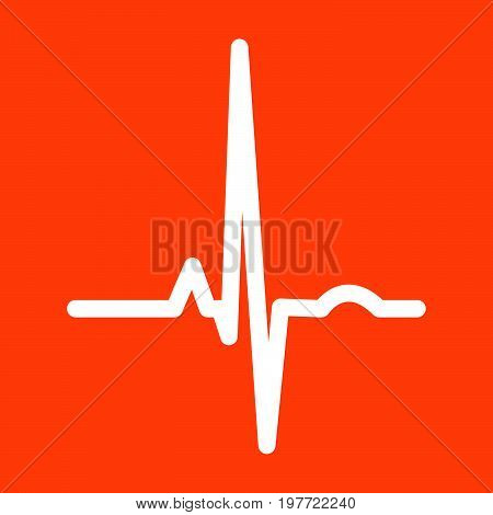 Heart Rhythm Ekg White Icon .
