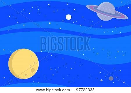 Blue sky space with moon, saturn and stars. Vector illustration background