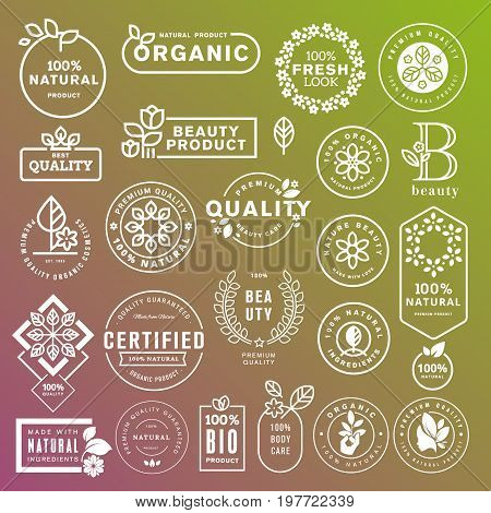 Collection of labels and stickers for natural cosmetics and beauty products. Vector illustrations on a stylized background, for cosmetics, healthcare, spa and wellness.