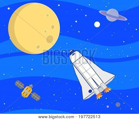 Outer space landscape with moon, planets and shuttle. Digital illustration