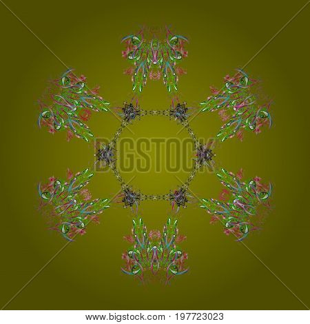Snowflakes pattern. Flat design with abstract snowflakes isolated on colors background. Snowflake colorful pattern. Vector illustration. Vector snowflakes background.