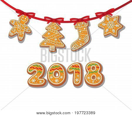 Gingerbread cookies set on garland vector isolated illustration on a white background New year 2018 numbers baked cartoon sweet cake man, tree stocking snowflake. Traditional winter holiday home treat
