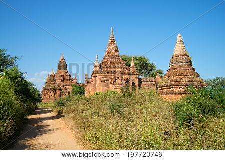 A sunny day at the ancient Buddhist pagodas of Bagan. Burma