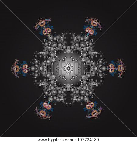 Snowflake colorful pattern. Snowflakes pattern. Vector illustration. Vector snowflakes background. Flat design with abstract snowflakes isolated on colors background.