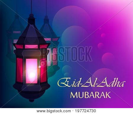 Eid Al Adha Muslim traditional holiday. Beautiful greeting card with traditional Arabic lantern on blurred purple background. Stock vector