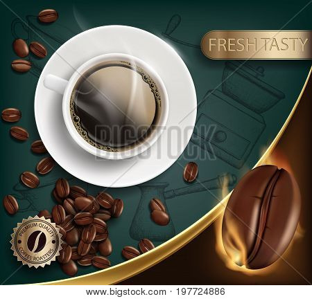Cup with a coffee and beans on the table. Background for food and drinks. Brand name of high quality. Stock vector illustration.