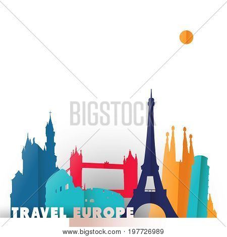 Travel Europe Paper Cut World Monuments