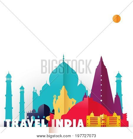 Travel India Country Paper Cut World Monuments