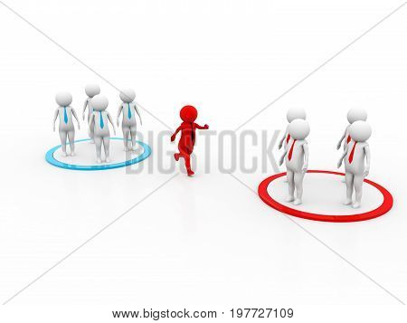 Changing Teams. 3D concept depicting changing teams, great for either business or general ideas