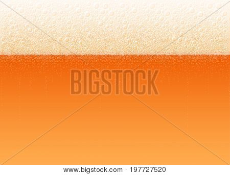 Beer with a foam and bubbles. The variety Cold Red. High detailed realistic vector illustration for background of Oktoberfest beer festival. No Mesh