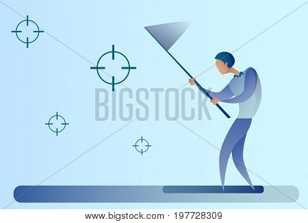 Abstract Business Man Catch Targets With Butterfly Net Aim Goal Concept Vector Illustration