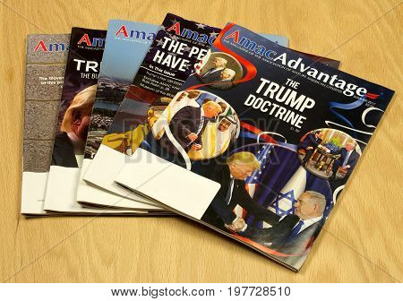 RIVER FALLSWISCONSIN-JULY 312017: Several copies of Amac Advantage magazine. Amac is the conservative alternative to other senior organizations.