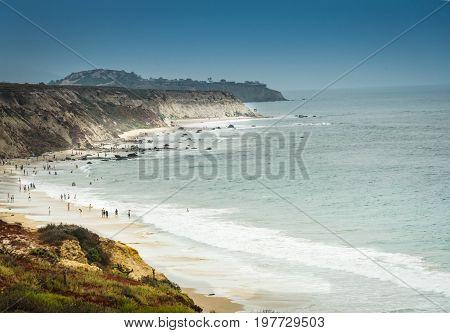 A sunny summer day along the southern California coast near Laguna Beach, California.