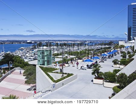 SAN DIEGO, CALIFORNIA, JUNE 9. San Diego Convention Center on June 9, 2017, in San Diego, California. A Day View of the San Diego Convention Center Waterfront in San Diego in California.