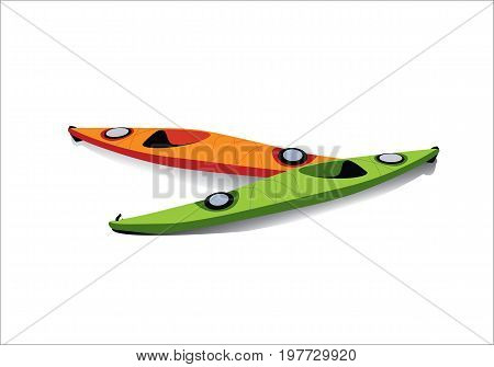 Flat illustration of two kayaks on the shore