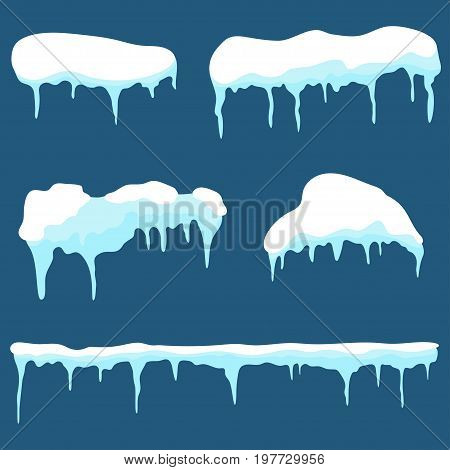 Snow Cap, Ice Cap Set. Snowdrifts And Icicles Design Elements Isolated On Background