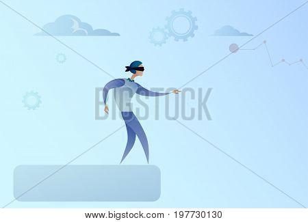Business Man Blind Walking To Cliff Gap Crisis Risk Concept Flat Vector Illustration