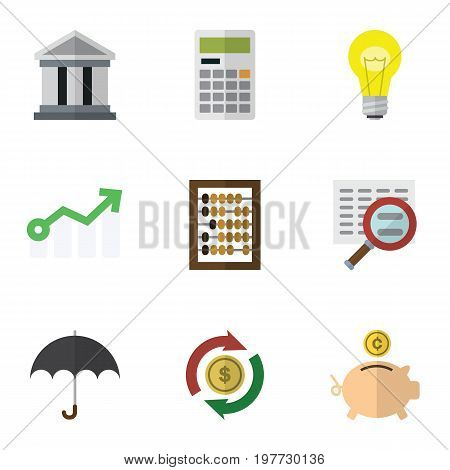 Flat Icon Incoming Set Of Money Box, Bubl, Calculate And Other Vector Objects