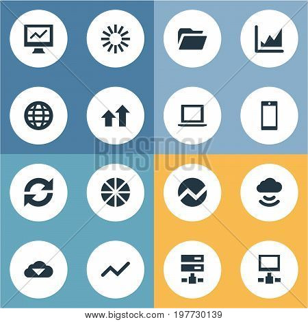 Elements Database, Increase Graph, Storage And Other Synonyms Update, Smartphone And World.  Vector Illustration Set Of Simple Data Icons.