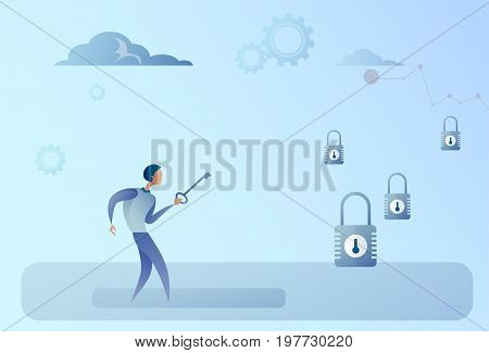 Business Man Hold Key Choosing Lock Opportunity Decision Concept Flat Vector Illustration