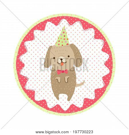 Cute dog in a bow-tie and in a birthday cap. Vector round icon sticker with a polka-dot pattern in cartoon style for print design of children s banners, postcards, posters, booklets.