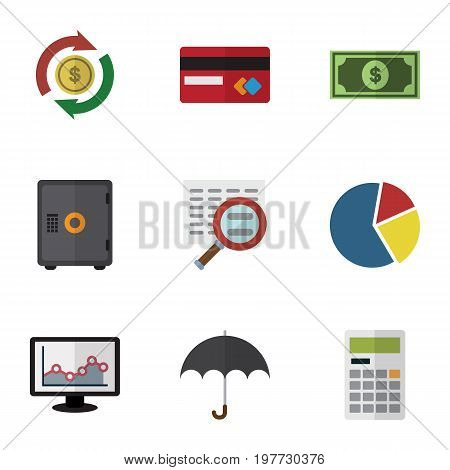 Flat Icon Gain Set Of Interchange, Chart, Parasol And Other Vector Objects