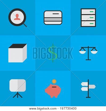 Elements Moneybox, Drawer, Direction And Other Synonyms Balance, Drawer And Signpost.  Vector Illustration Set Of Simple Job Icons.