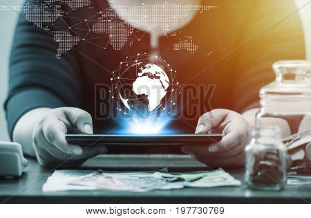 Technology People Global Network And Online Banking Internet Banking Concept