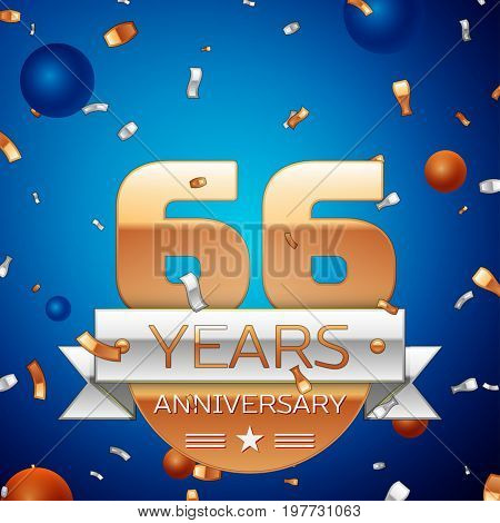Realistic Sixty six Years Anniversary Celebration Design. Golden numbers and silver ribbon, confetti on blue background. Colorful Vector template elements for your birthday party