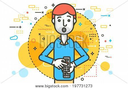 Vector illustration orator spokesman spokesperson speaker holding remote control in businessman rhetor politician speech speaking stage audience business presentation line art style white background
