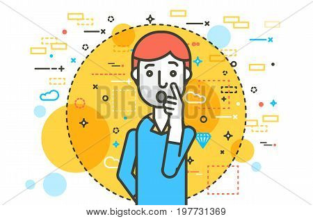 Vector illustration orator spokesman spokesperson speaker keep hand near the face businessman gesture politician speech speaking stage audience business presentation line art style white background