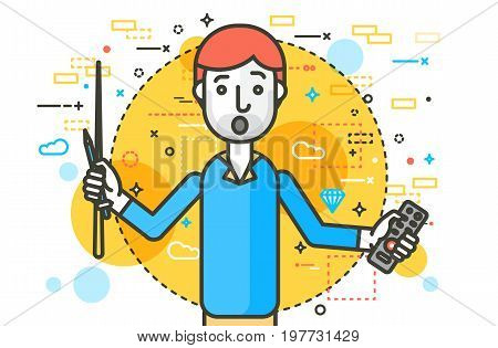 Vector illustration orator spokesman spokesperson speaker holding remote control and pointer businessman politician speech speaking stage audience business presentation line art style white background