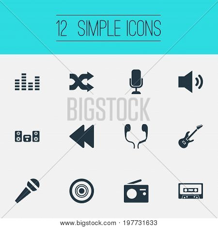 Elements Compact Disk, Backwards, Megaphone And Other Synonyms Backward, Arrow And Disk.  Vector Illustration Set Of Simple Music Icons.