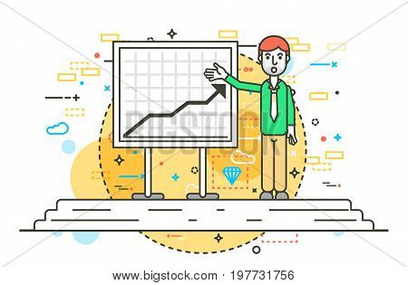 Vector illustration orator spokesman spokesperson speaker points to a flip chart businessman politician speech speaking stage audience business presentation line art style front view white background.