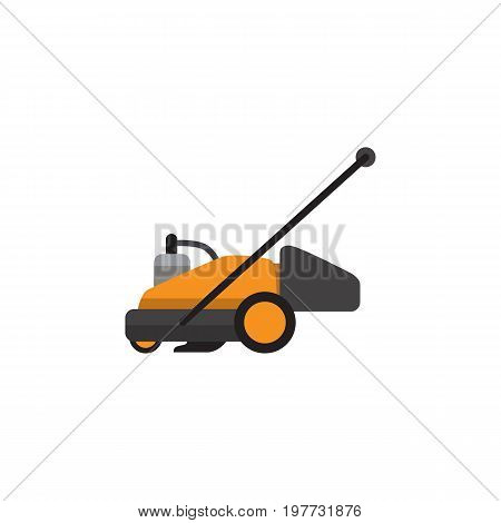 Lawn Mower Vector Element Can Be Used For Lawn, Mower, Cutter Design Concept.  Isolated Grass-Cutter Flat Icon.