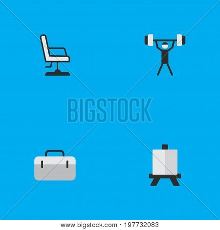 Elements Armchair, Briefcase, Easel And Other Synonyms Painting, Seat And Handbag.  Vector Illustration Set Of Simple Knowledge Icons.