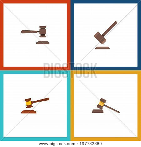 Flat Icon Hammer Set Of Hammer, Legal, Tribunal And Other Vector Objects