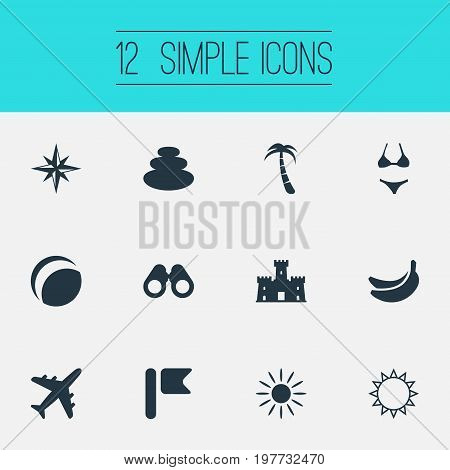 Elements Swimsuit, Sunrise, Airplane And Other Synonyms Flag, Rose And Sunrise.  Vector Illustration Set Of Simple Beach Icons.