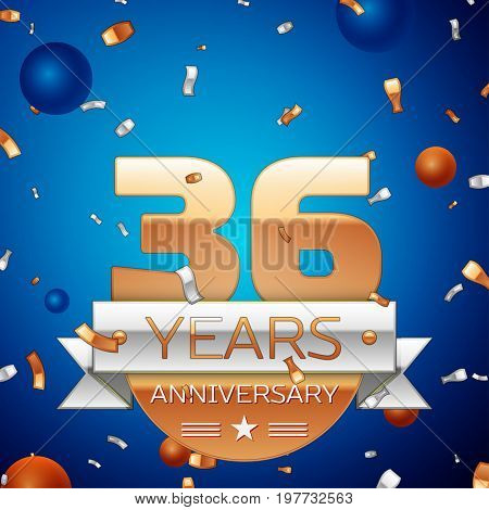 Realistic Thirty six Years Anniversary Celebration Design. Golden numbers and silver ribbon, confetti on blue background. Colorful Vector template elements for your birthday party. Anniversary ribbon