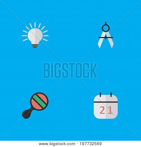 Elements Racket, Measurement Dividers, Date Block And Other Synonyms Ping, Dividers And Measurement.  Vector Illustration Set Of Simple Knowledge Icons.